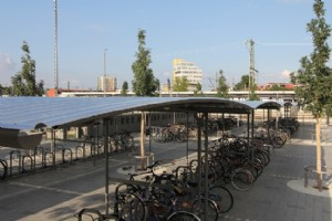 Germany: Bike shelters and bike safes at railwaystation Ingolstadt North
