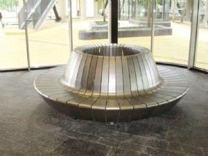 Round stainless steel bench