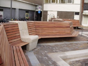 Wooden zig zag benches in Zaandam