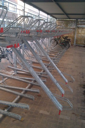 First Optima double tier rack with FietsParKeur on c.t.c. 37,5 cm installed