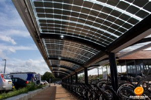 Energy generating bicycle shelter